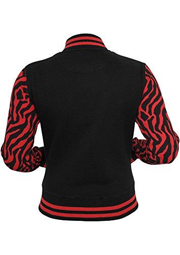 Urban Classics Damen Jacke Ladies Zebra 2-tone College Sweatjacket Rot