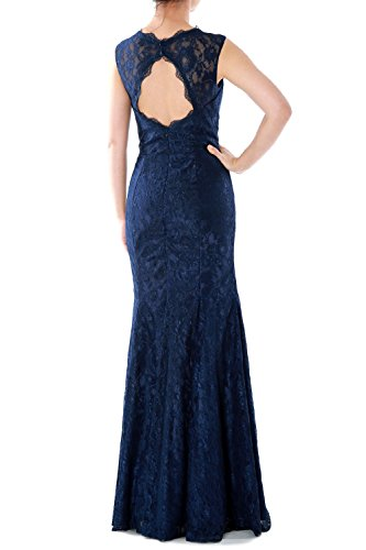 MACloth Women Mermaid Lace Long Bridesmaid Dress Wedding Formal Evening Gown Royal Blue
