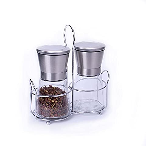 ADMOZ Salt Pepper Shakers, Salt and Pepper Grinder Set with Glass Body , Set of 2 (1 handle included