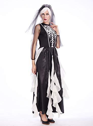 Skelett Kostüm Scary Übergröße - WXJWPZ Mechanische Knochen Schädel Kostüm Frauen Halloween Outfit Skeleton Kostüme Plus Size Overall Scary Bodysuit,OneSize