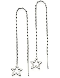 ICE CARATS 925 Sterling Silver Cut Out Star Tassel String Threader Earrings Drop Dangle Celestial Fine Jewelry Gift Set For Women Heart