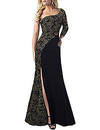 LaoZan Vestidos de Fiesta para Bodas - Encaje?Hendidura?Asimetría - Estilo y Elegante Negro01 Small