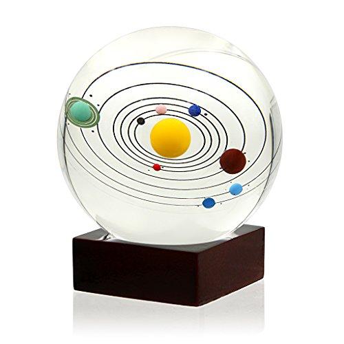 Sumnacon 3D-Solarsystem Kristallkugel Glaskugel Dekorativer Briefbeschwerer mit Holzständer für kreatives Geschenk Zuhause oder Büro Ornamente (80 mm)