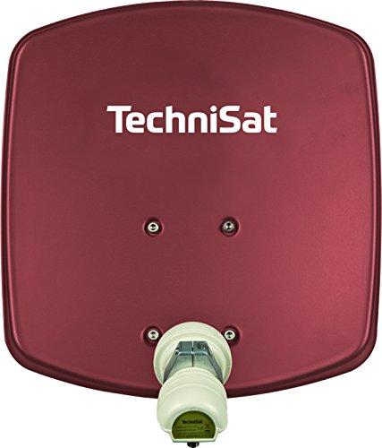 TechniSat DIGIDISH 33 Satellitenschüssel (33 cm kleine Sat Anlage mit Wandhalterung und Universal V/H Single-LNB für 1 Teilnehmer) rot