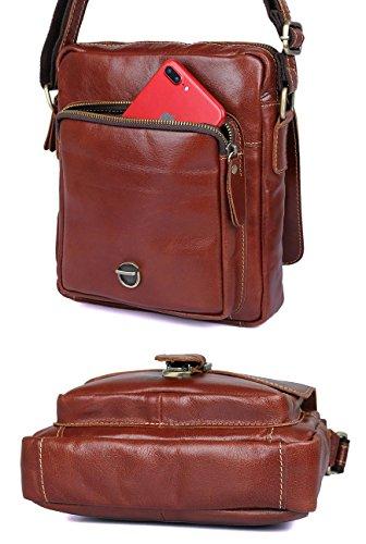 Everdoss Herren echt Leder Umhängetaschen Schultertaschen Messenger Bag Vintage Business Freizeit Schwarz Rot-Braun