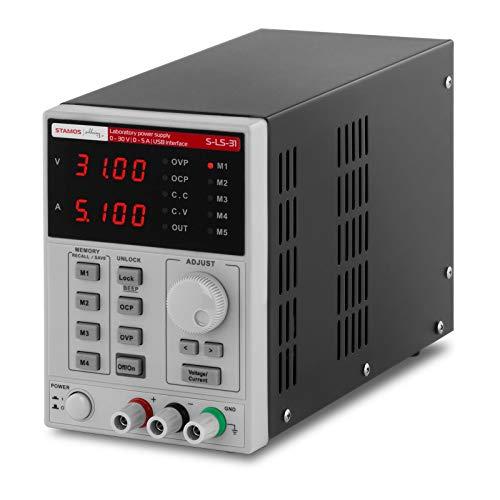 Stamos Soldering Labornetzgerät Labornetzteil Regelbares Netzteil Labor Netzgerät S-LS-31 (250 W, USB, 4 Speicherplätze, 0-30 V, 0-5 A DC, 2 LED Anzeigen)