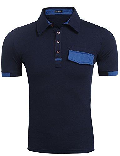 Coofandy Herren V-Neck T-Shirt Kurzarm Layershirt mit Knöpfen Freizeit Marineblau