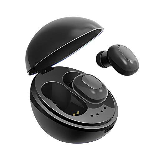 Urias Stereo Bass Earbuds, Wireless Bluetooth 5.0 Leichte Kopfhörer mit Kasten Laden und Eingebautes Mikrofon,Schwarz