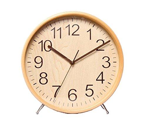 WYQmm Horloge en bois massif Horloge Horloge Salle de séjour Horloge simple moderne Décoration pendule de bureau cloche grande horloge de lit créative et créative horloge murale ( Couleur : Beige )