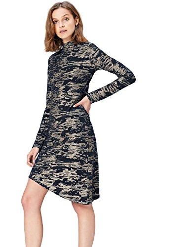 FIND Vestido Camuflaje para Mujer , Multicolor (Multi), 36 (Talla del Fabricante: X-Small)