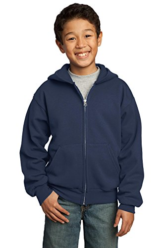 2008 Zip Hoodie (Port & Company® - Youth Core Fleece Full-Zip Hooded Sweatshirt. PC90YZH Navy XL)