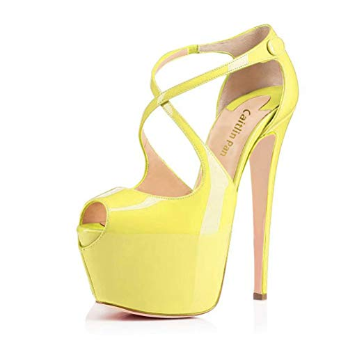 Caitlin Pan Women Mary Jane Platform Pumps Ankle Strap Stiletto High Heels Dress Shoes Yellow Size 40 EU Strap Mary Jane Pump