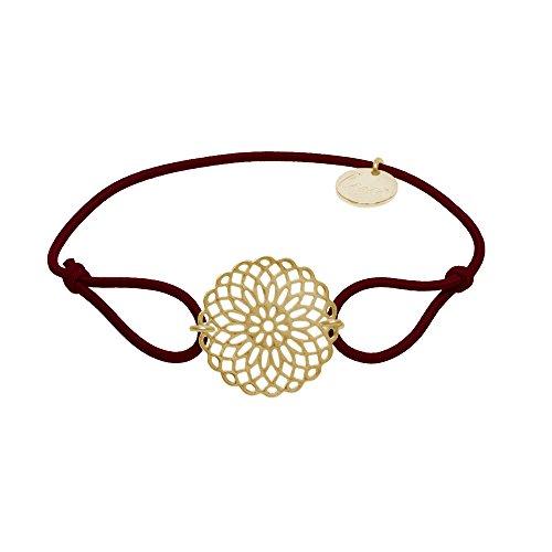 lua accessories - Armband Damen - Elastikband - größenverstellbar - hochwertig vergoldete Lebensblume - Sun Gold (Bordeaux)