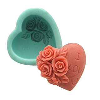 Allforhome Valentine's Day Rose Heart Decoration Silicone Soap mould Craft Handmde Soap Molds DIY