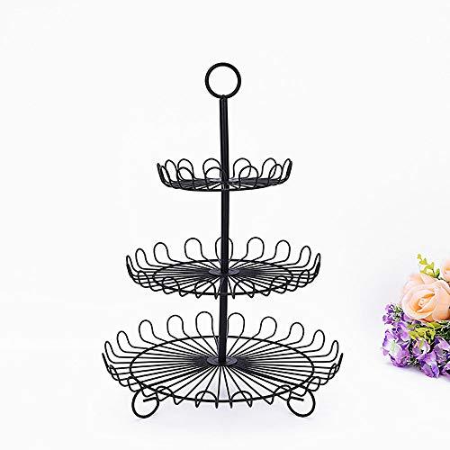 Utimate 3 Tier Retro Schwarz Hochzeitstorte Stand, Vintage Schwarz Runde Kuchen Platte, Metall Dessert Stand für Hochzeitsfeier (3-tier-schwarz-kuchen-stand)