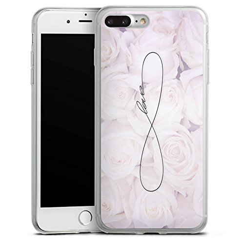 Apple iPhone 8 Slim Case Silikon Hülle Schutzhülle Eternal Love Spruch Rosen Liebe Silikon Slim Case transparent