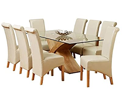 Glass Top Oak Cross Base Dining Table w/ 6 8 Leather Chairs Room Furniture 200cm produced by 1home - quick delivery from UK.
