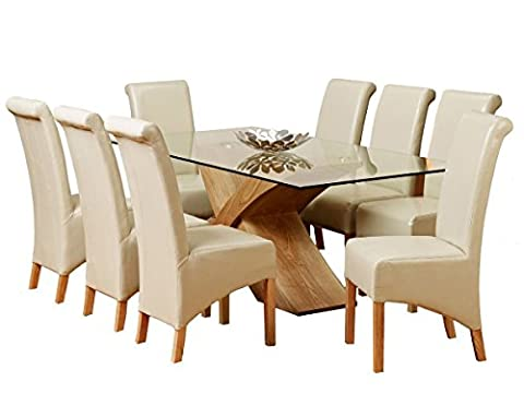 1home Glass Top Oak Cross Base Dining Table w/ 6 8 Leather Chairs Room Furniture 200cm (Table with 8