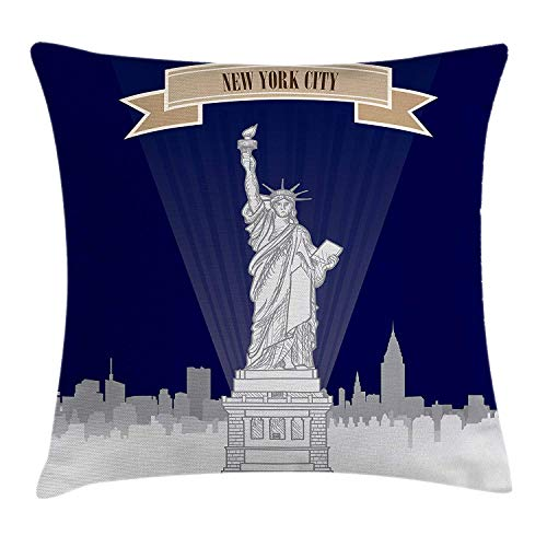 WITHY USA Throw Pillow Cushion Cover, New York City Silhouette with Greyscale Statue of Liberty on Blue Background, Decorative Square Accent Pillow Case, 18 X 18 inches, Grey Beige Navy Blue