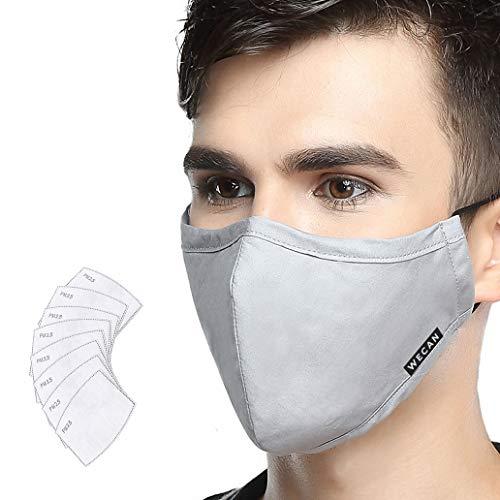 Lyanty - N99, Maschera anti inquinamento di grado militare, in cotone, lavabile, e con filtro sostituibile (una maschera + 8filtri), grigio