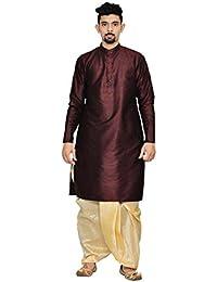 Men's Maroon Solid Full Sleeve Dhoti & Kurta Set