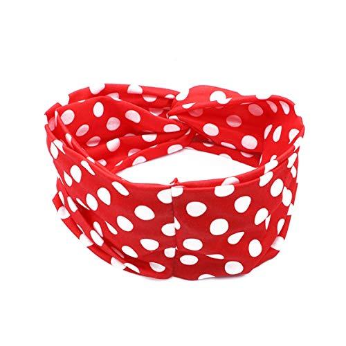 eite Stirnbänder Keine Slip Kreuz Haarband Elastische Polka Dot Head Wrap Bandana Stirnband Yoga Laufsport (Rot) (Color : Picture, Size : One Size) ()