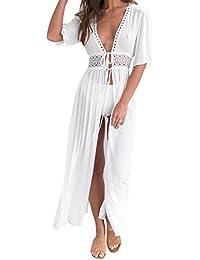 Petalum Damen Sommer Boho Kimono Lang Strand Cardigan Leichte Strickjacke Beachwear Bikini Cover Up Maxi Strandkleid