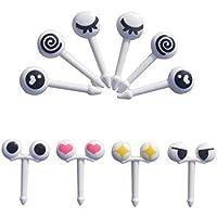 Mengonee 10pcs/Set Expresión Mini Dibujo Animado de los Ojos de la Fruta Tenedor de plástico de Fruta palillo de Dientes para Niños