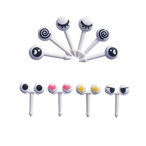 (F-blue 10pcs/Set Mini-Augen-Cartoon Ausdruck Obst Gabel Plastikfrucht Zahnstocher für Kinder)