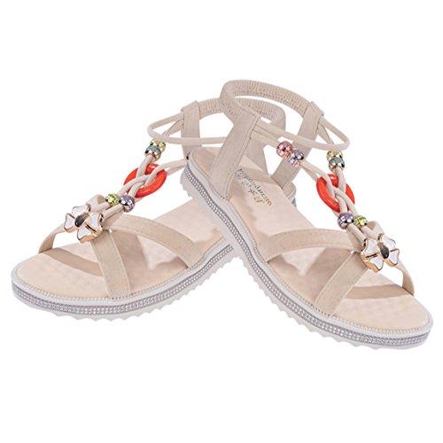 Vovotrade Damen Sommer Sandalen Schuhe Peep-Toe Low Schuhe Römische Sandalen Damen Flip Flops Einrichtung Bohemian Sandalen Beige