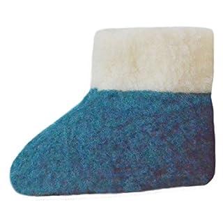 SamWo, 100% Reine Schafwolle Hausschuhe Wollhausschuhe Fußwärmer Hüttenschuhe Stiefel für Kinder Petrol, KFW 27-28 azu