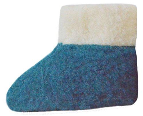 SamWo, 100% Reine Schafwolle Hausschuhe Wollhausschuhe Fußwärmer Hüttenschuhe Stiefel für Kinder Petrol, KFW 33-34 azu