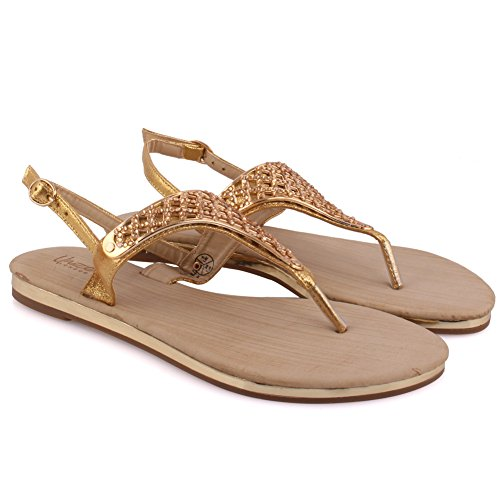 Unze New Women 'Jules' Toe Embellished Summer Beach Party Rejoindre Carnival Casual Sandales plates Chaussures Grande-Bretagne Taille 3-8 Or