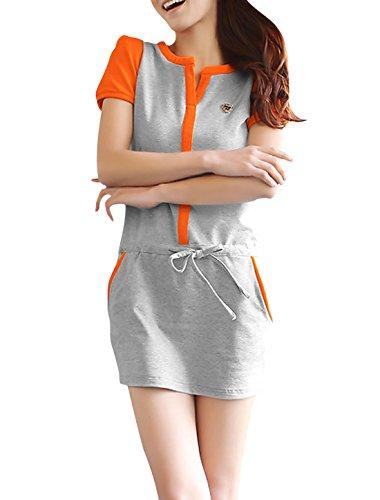 Femmes Manches Courtes rembourré Les épaules Poches Latérales Robe Gris Clair Orange XS Orange,Clair Gris