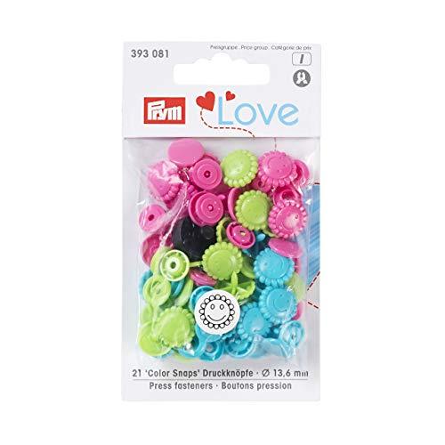 Prym Love Druckknopf Color Blume 13,6 mm türkis/grün/pink, Polyester,
