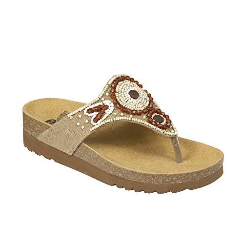 Scholl Sandalen TAILA - Bequeme Damen Zehensandale mit Perlen und ergonomischem Fußbett - 40mm Absatz