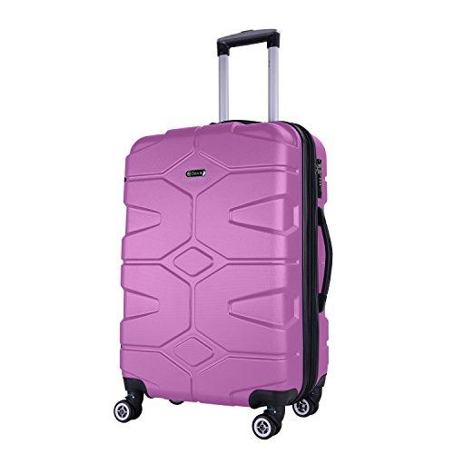 SHAIK SERIE RAZZER SH002 DESIGN PMI Hartschalen Kofferset, Trolley, Koffer, Reisekoffer, 4 Doppelrollen, 25% mehr Volumen durch Dehnfalte (Violett, L - Mittelgroßer Koffer)