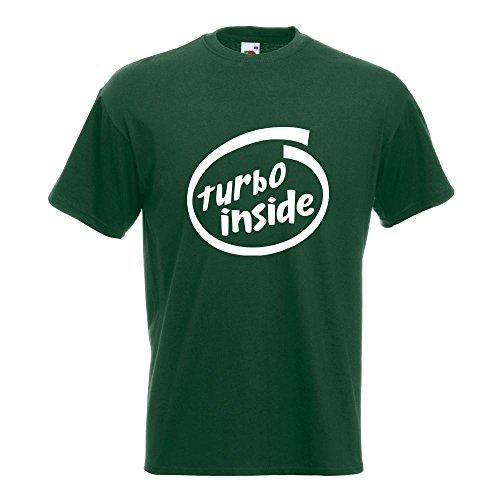 KIWISTAR - Turbo inside T-Shirt in 15 verschiedenen Farben - Herren Funshirt bedruckt Design Sprüche Spruch Motive Oberteil Baumwolle Print Größe S M L XL XXL Flaschengruen