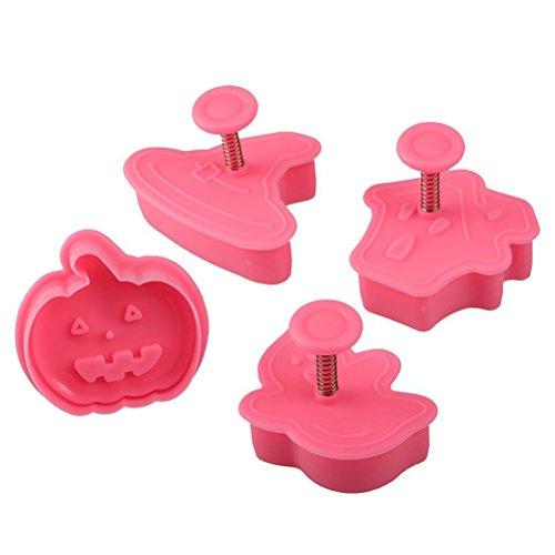 Mini-Formen, 4-teiliges Set für Halloween, Design Kürbis, für Cookies, Backform, Zuckerguss, Werkzeug mit Schieber, für Küche
