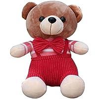 Muñeca de niña de los niños encantadora muñeca de los niños muñeca de peluche de peluche patrón de oso rojo