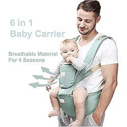 Happy Walk 6 en 1 Convertible Baby Carrier Portabebes con Asiento de Cadera / Mochilas Portabebés Ergonómico Diseñado / Manos Libres para Todas las Estaciones, (Recién Nacido, Bebé y Niño Pequeño)