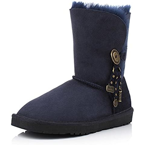Stivali di pelliccia di pecora/ tamburo scarpe/Ladies piatto tondo testa con antiscivolo stivali/ caldo stivali (Classic Short Pelle Di Pecora)