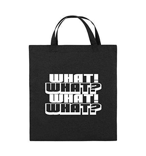 Comedy Bags - WHAT! WHAT! WHAT! WHAT! - Jutebeutel - kurze Henkel - 38x42cm - Farbe: Schwarz / Pink Schwarz / Weiss