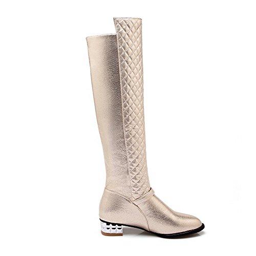 AllhqFashion Damen Niedriger Absatz Blend-Materialien Überknie Hohe Stiefel Stiefel, Schwarz, 37