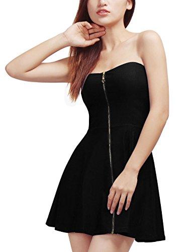 Allegra K Damen Sommer A Linie Reißverschluss Off Shoulder Minikleid Kleid Schwarz XS (EU 34) (Kostüm Reissverschluss)