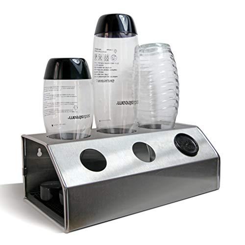 Hochwertiger 3er Abtropfhalter aus Edelstahl, mit angepasster Abtropfmatte, für z.B. Sodastream Crystal, Fuse, Source, Easy inkl. Deckelhalterung (Glas Flasche Herzstück)