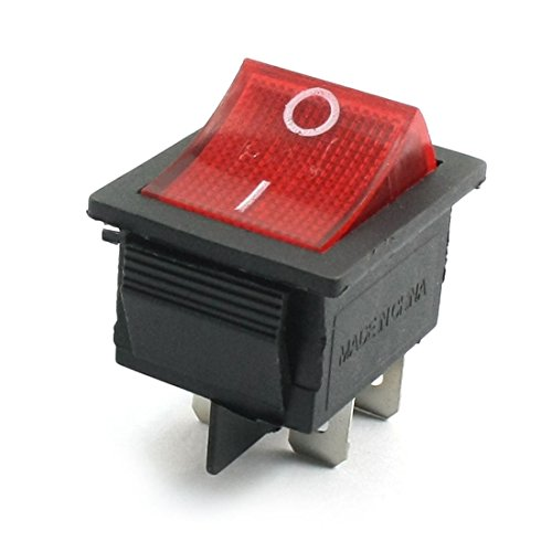 AC 250V 15A 125V 20A DPST 4Pin 2 Position Red Pilot Lampe Wippschalter