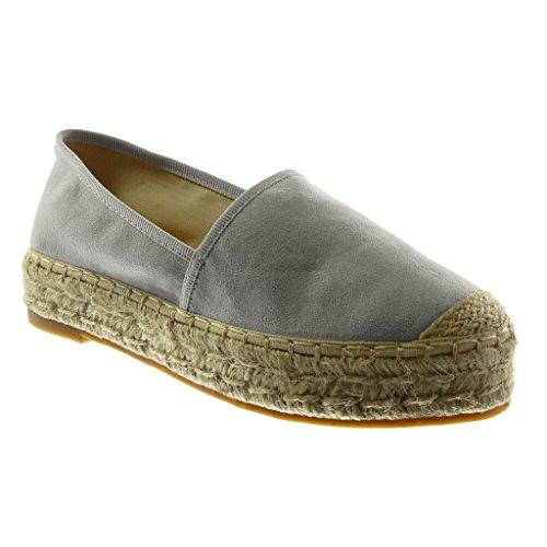Angkorly Angkorly - Damen Schuhe Espadrilles - Slip-On - Seil Blockabsatz 3.5 cm - Grau LX163 T 38