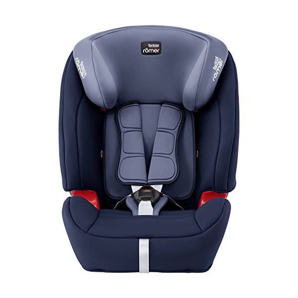 Britax Römer EVOLVA 1-2-3 SL SICT Group 1-2-3 (9-36kg) Car Seat - Moonlight Blue  CLICK & SAFE audible harness system for that extra reassurance when securing your child in the seat The padded headrest and harness can easily be adjusted with one hand to suit your child's height performance chest pads - provide comfort and reduce your child's forward movement in a frontal collision 3