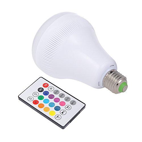 Gamogo Intelligente LED-Glühbirne mit integriertem Bluetooth-Lautsprecher E27 7W RGB Flammenlampe w / 13 Farben Wireless-Stereo-Audio mit 24 Tasten IR-Fernbedienung für Party-Hotel Heimgebrauch Wireless-ir-stereo
